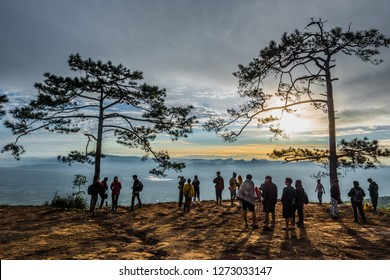 LOEI - DECEMBER 10 : Travelers and photographers waiting for looking mist and sunrise at Phu Kradueng National Park, is one of the best known of national parks on December 10, 2018 in Loei, Thailand.