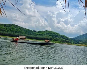 Loei province, Thailand - September 28,2018 : Floating restaurant at Loei, Thailand