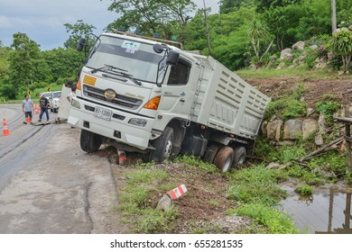 LOEI PROVINCE, THAILAND-May 27 :Truck accicent in  Loei, May 27 ,2017.