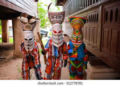 LOEI PROVINCE,THAILAND-1 sep 2015:Unidentified boy wears ghost costumes at Ghost Festival (Phi Ta Khon - a masked procession celebrated by Buddhist) at Dan Sai district in Loei