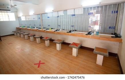 Loei, Thailand - 27 May, 2020 : chair social distancing it is show the sign is writing to make the space between chair for prevention covid- 19 to each other from Loei provincial prison, Thailand