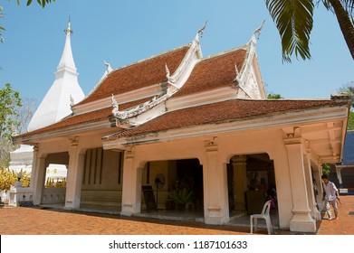 Loei, Thailand - April 18, 2010: Unidentified people visit Phra That Si Song Rak temple in Loei, Thailand.