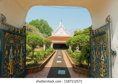 Loei, Thailand - April 18, 2010: Entrance gate to the Phra That Si Song Rak temple in Loei, Thailand.