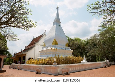 Loei, Thailand - April 18, 2010: Phra That Si Song Rak temple with the inclined stupa in Loei, Thailand.