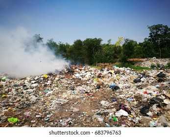 Loei, Thailand - April 26, 2017 : Environmental problems pollution .Earth land with the garbage in Thailand.