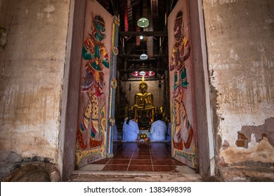 Loei, Thailand, August 11: Buddhist are make merit and pay respect to the Buddha in temple at Wat Si Pho Chai, Na Haeo District, Loei Province, Thailand 2018