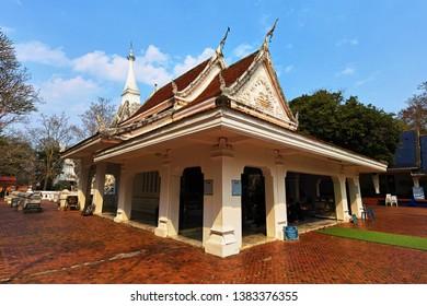 Loei, Thailand - February 27, 2019 : Phrathat Si Song Rak the famous white pagoda  and landmark of Dan Sai District, Loei Province, Thailand