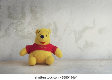 LOEI, THAILAND - January 29, 2017 : Figure of Winnie the Pooh character . Winine the Pooh is animation from Disney.