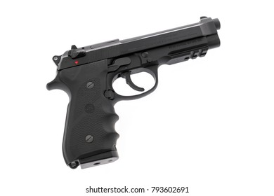 Loei, Thailand - JULY 10, 2016: A 9mm Beretta M92A1 semi-automatic handgun used by both police and military on white background