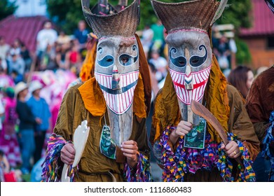 LOEI, THAILAND - June 16, 2018 : Thai northeastern traditional ghost mask Phi Ta Khon ,The Ghost Festival  is carnival  dance at street in Loei, Thailand.