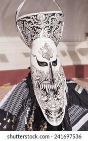 LOEI, THAILAND - JUNE 28 : close up of mask in Phi ta khon halloween festival on June 28 2014 in Loei, Thailand