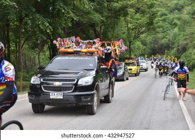 """LOEI, THAILAND June 5,2016:People ride bicycles in """"Tour of Isan Loei Claassic 2â?�,  the road bicycle race through Loei  province in Thailand"""