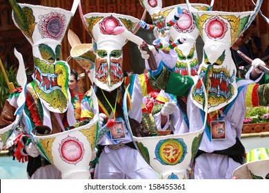 """LOEI, THAILAND - JUNE12, 2010: Ghost Festival (Phi Ta Khon) is a type of masked procession celebrated on Buddhist merit- making holiday known in Thai as""""Boon Pra Wate"""" at Loei province."""