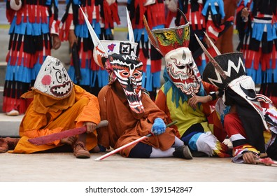 Loei, Thailand - June17 2018 : Phi Ta Khon festival Ghost mask and colorful costume Fun Traditional Tradition Very famous There are tourists around the world at Dan Sai Loei halloween of Thailand