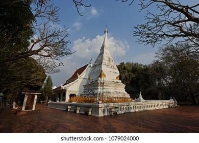 Loei, Thailand - March 29, 2018 : Phrathat Si Song Rak the famous white pagoda  and landmark of Dan Sai District, Loei Province, Thailand