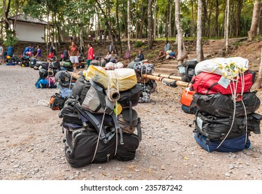 LOEI, THAILAND - Nov 14 : Unidentified porters prepared to carry climbers' belongings on 28 Nov 2014 at Phu Kradueng National Park, Loei, Thailand