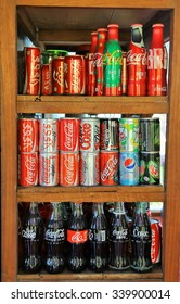 LOEI, THAILAND - NOVEMBER 12, 2015 : collection of Coca Cola. Coca Cola is the official product.