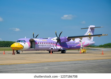 LOEI, THAILAND - NOVEMBER 18, 2018: NOK SAILOM Propeller aircraft model ATR 72-500 by Nok Air airline just arrived at Loei Airport.