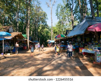 Loei, Thailand - November 3, 2018: local shop for the tourist at Phu Kradueng National park, Loei Provice, Thailand