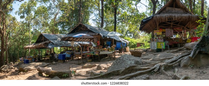Loei, Thailand - November 5, 2018: local shop for the tourist at Phu Kradueng National park, Loei Provice, Thailand