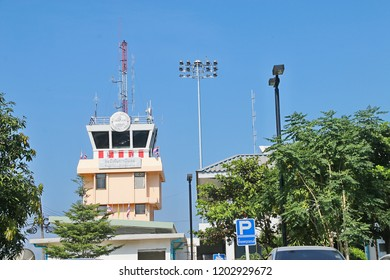 Loei, Thailand - October 15, 2018 : Control tower at Loei province Airport, Thailand.
