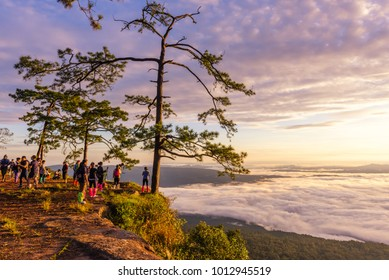 LOEI, THAILAND, OCTOBER 7, 2017: Tourists are see the sunrise at view point Nok Aen Cliff  at Phu Kradueng National Park.