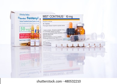 LOEI, THAILAND - SEP 4, 2016: Drug reduces pain in patients with cancer, fentanyl patch, morphine on the table.