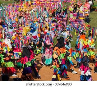 LOEI ,THAILAND-Febuary 1: Phi Khon Nam procession in Red Cross Loei Province. Phi Khon Nam Festival,dance of each community parade ,Febuary 1,2016 in Loei,Thailand.