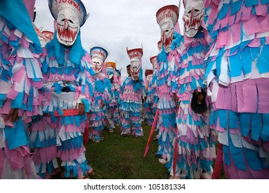 """LOEI ,THAILAND-JULY 1: Ghost Festival (Phi Ta Khon) is a type of masked procession celebrated on Buddhist merit- making holiday known in Thai as""""Boon Pra Wate"""" at Loei province,July 1,2011"""