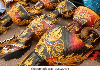 LOEI ,THAILAND-JUNE 23: Ghost Mash on the floor in Ghosh Mash Festival (Phi Ta Khon festival )  is a type of masked procession celebrated on Buddhist merit at Loei Province,Thailand in June 23,2012