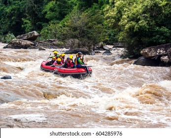 LOEI,THAILAND September 22: Unidentified asian people in action at rafting adventure 2015 on San river on September 22 in Loei Province,Thailand.