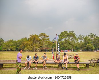 Loei/Thailand-16 Feb 2019:Unacquainted people  in Campground on Phu Kradueng mountain national park in Loei City Thailand.Phu Kradueng mountain national park the famous Travel destination