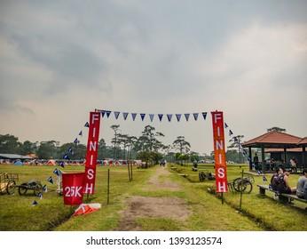 Loei/Thailand-16 Feb 2019:Unacquainted people with Trail running Goal on Phu Kradueng mountain national park in Loei City Thailand.Phu Kradueng mountain national park the famous Travel destination