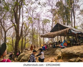 Loei/Thailand-16 Feb 2019:Unacquainted people Trekking to the top of the Phu Kradueng mountain national park in Loei City Thailand.Phu Kradueng mountain national park the famous Travel destination