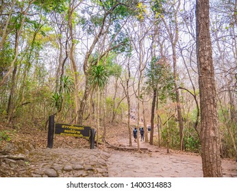 Loei/Thailand-16 Feb 2019:Unacquainted people Trekking to the top of the Phu Kradueng mountain national park in Loei City Thailand.Phu Kradueng mountain national park the famous Travel destination