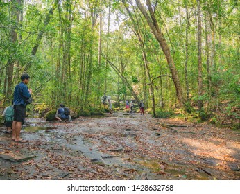 Loei/Thailand-17 Feb 2019:Unacquainted people on Thamyai Waterfall on Phu Kradueng mountain in the Summer time and less of water.Phu Kradueng mountain national park the famous Travel destination