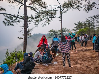Loei/Thailand-17 Feb 2019:Unacquainted Tourist in early morning at Phu Kradueng mountain national park in Loei City Thailand.Phu Kradueng mountain national park