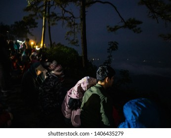 Loei/Thailand-17 Feb 2019:Unacquainted Tourist waiting for sunrise in early morning at Phu Kradueng mountain national park in Loei City Thailand.