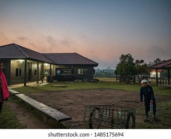 Loei/Thailand-18 Feb 2019:Unacquainted People on Campground Phu Kradueng mountain national park in the Early morning at Loei City Thailand.Phu Kradueng national park the famous Travel destination