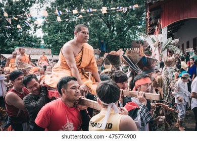 Loei,Thailand-July 16,2016 Phi Ta Khon festival Phi Ta Khon masks and dance to show festival in the evening on july 16 ,2016 in loei province of thailand