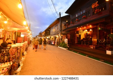 Loei/Thailand-November 11 2018:Street night market in Chiang khan Thailand