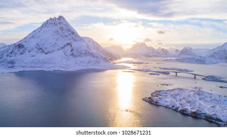 Lofoten is bathing in the sun. and the fjords extends between steep mountains