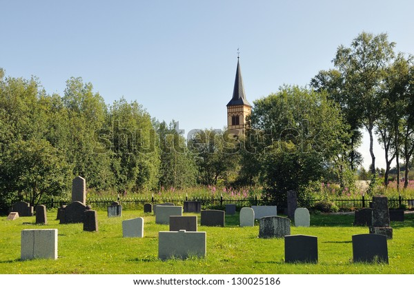 Lofoten Cathedral - shot from the cemetery