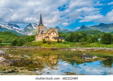 Lofoten Cathedral (Vaagan Church), Kabelvaag, Lofoten Islands, an archipelago and a traditional district in the county of Nordland, Norway. Located north of the Arctic Circle.