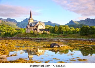 Lofoten Cathedral or Vagan Church in Kabelvag, Norway
