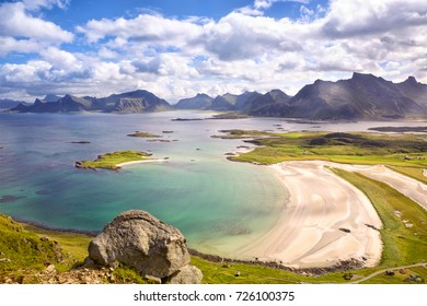Lofoten Islands landscape with deach and mountains, Norway
