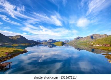 Lofoten Islands landscape with fjord, lake, mountains, Norway