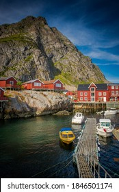 Lofoten Islands, Norway. fishing boats near the pier. Fisherman's house. Norway, fishing on the islands in the Arctic Circle