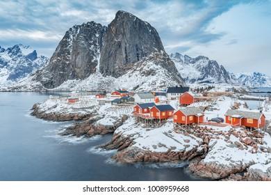 Lofoten Islands in winter, Northern Norway, Europe.