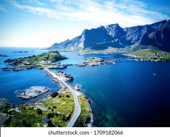 Lofoten Mountain Drone Picture in Summer